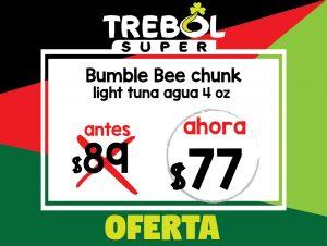 Bumble Bee Chunk Light Agua 4oz. Oferta especial, antes RD$89 ahora RD$77
